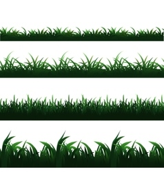 Green seamless grass borders set vector image