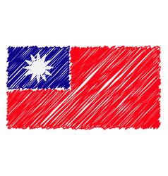 hand drawn national flag of taiwan isolated on a vector image