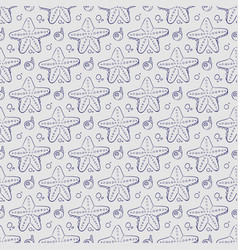 hand drawn sea shell and starfish seamless pattern vector image