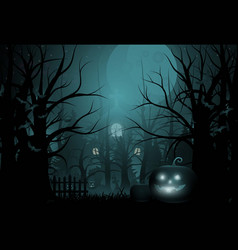 Happy halloween background and scary tree pumpkin vector