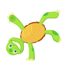 happy young cartoon turtle stands on hand fanny vector image