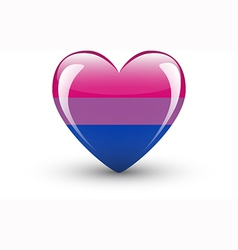 Heart-shaped icon with bisexual pride flag vector