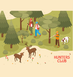 hunters club isometric poster vector image