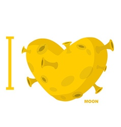 I love moon Heart symbol from yellow planet with vector image
