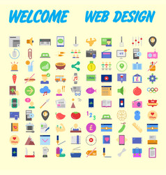 Icons online store base set in a flat style vector