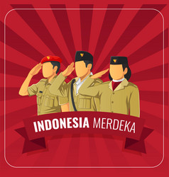 Indonesian republic independence day greeting card vector
