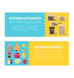 Kitchen utensils and household appliances banner vector