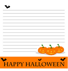 Line paper template with halloween theme vector