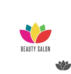 Lotus logo flower colorful beauty salon emblem vector