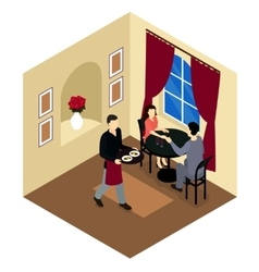 Love Couple In Restaurant Isometric Composition vector