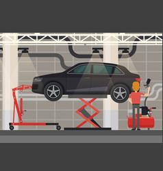 mechanic near car on lifting platform vector image