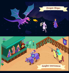 medieval isometric banners vector image