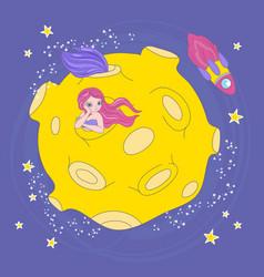 mermaid moon home cartoon space vector image