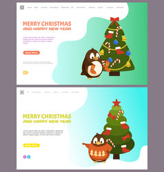 merry christmas and happy new year pine fir tree vector image