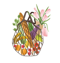 Mesh or net bag full of healthy food products vector