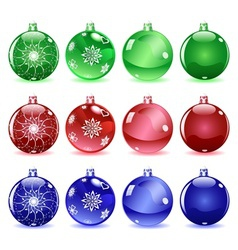 Multicolored Christmas balls Set 1 of 4 vector