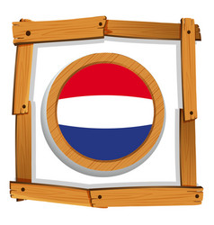 netherlands flag in wooden frame vector image
