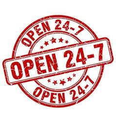 Open 24 7 red grunge round vintage rubber stamp vector