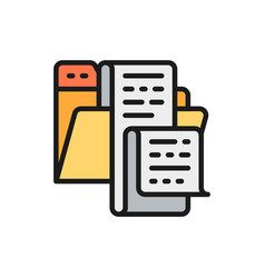 open folder with documents file list jobs vector image