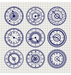 Ornamental watches ball pen sketch set vector image
