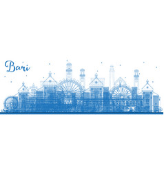 Outline bari italy city skyline with blue vector