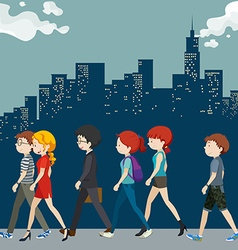 People walking on the street vector image