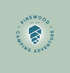 Pine cone wood logo camping resort adventure vector