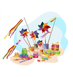 Pinwheel toys gifts and candy vector