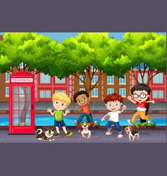 Playful children in town vector