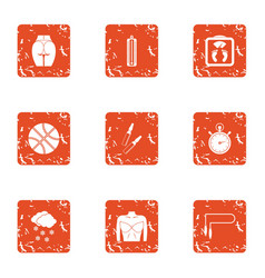 Pull up figure icons set grunge style vector