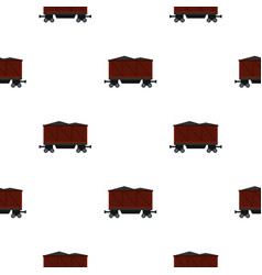 Railway wagon loaded with coal pattern seamless vector
