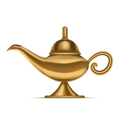 realistic detailed 3d shiny magic lamp vector image