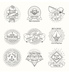 Retro fishing logo or labels set vector image