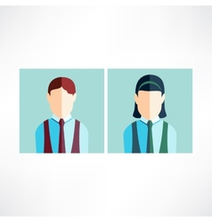 schoolboy and schoolgirl icon flat vector image