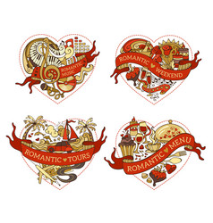 Set four hearts for your design vector