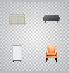 set of decoration realistic symbols with chair vector image