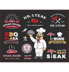 Set of steak and grill restaurant logo label vector