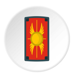 Shield with ornament icon circle vector