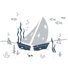 Shipwreck sunken boat underwater vector