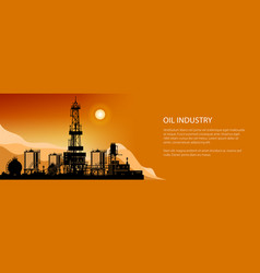 Silhouette drilling rigs banner vector
