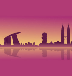Silhouette of city tour singapore malaysia scenery vector