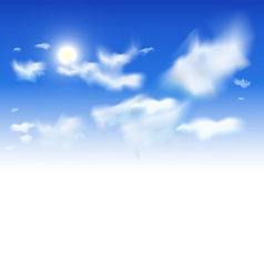 sky background - white clouds and sun in blue vector image