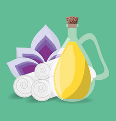 spa product with towels and flower vector image