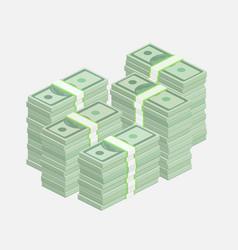 Stacks one hundred dollar bills vector