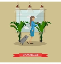 stewardess with baggage in vector image