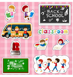 Sticker design for students and school items vector
