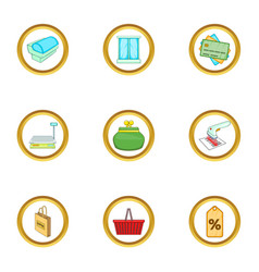 Supermarket interior icons set cartoon style vector