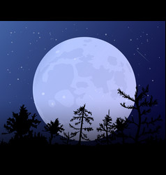 The moon against the blue of the night sky vector
