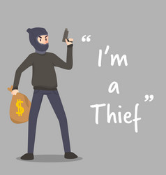 Thief character with gun and stolen money bag vector