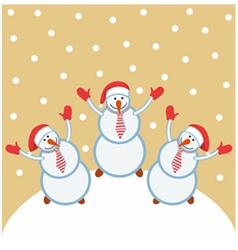 Three funny snowmen happy vector
